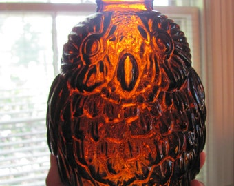 Vintage Owl Figurine 1960s Rootbeer Wise Owl Bank Glass Midcentury Mod Collectible Birds Cottage Chic Brown Jug Halloween Fall Autumn