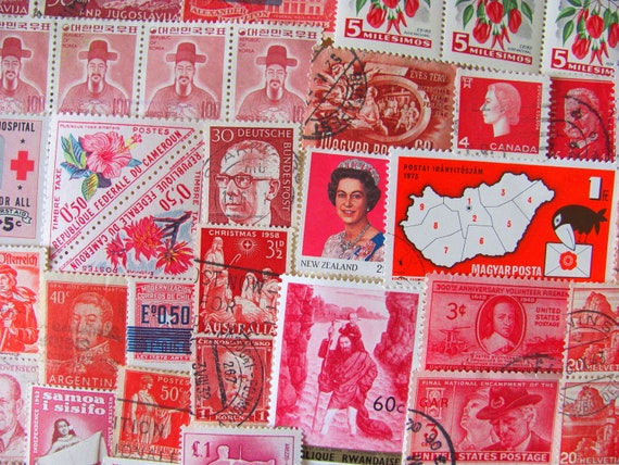 Shades of Red 100 Vintage Postage Stamps Assorted US Worldwide Postage Stamps Philately Pink Ruby Carmine Scarlet 2