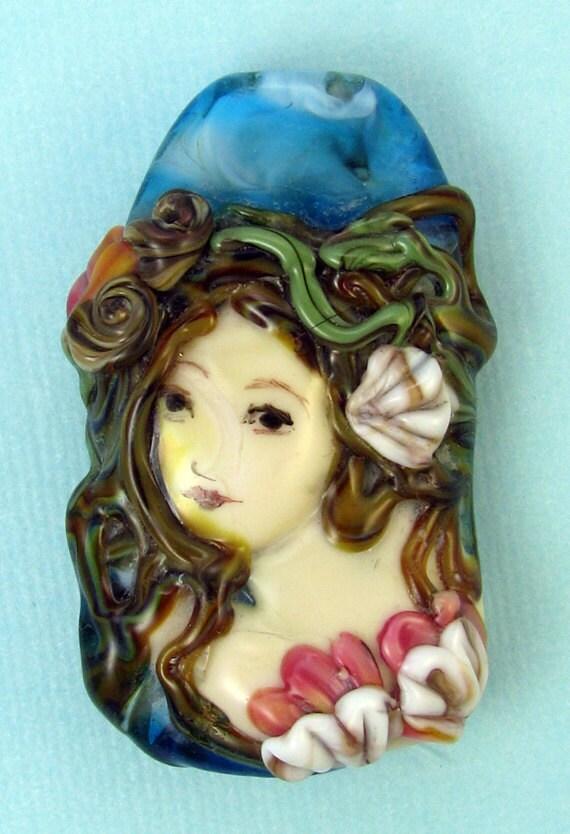 Lampwork Mermaid Focal Bead- Loreli