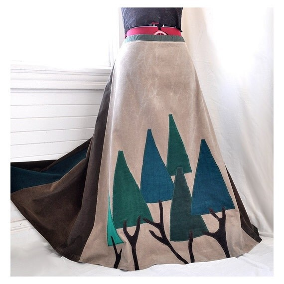 Merry Green Woods - Green Trees Patchwork Corduroy Skirt,  Ooak boho hippie skirt, Can fit sizes - S to XL