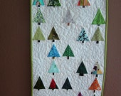Peace Trees Embroidered Quilted Art Wall Hanging - FREE shipping