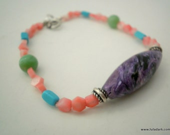 Bracelet Pink Coral, Sterling Silver, Charoita,Turquoise, Chrysoprase