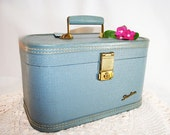 Blue Train Case Luggage