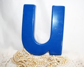 Royal Blue Lower Case Letter U, alphabet letter - flattirevintage