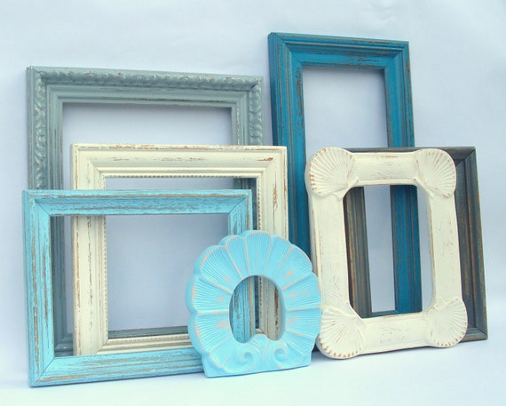 Dorchester Frame Collection - aqua, teal blue, antique white - 7 painted frames - upcycled shabby cottage chic - nautical beach seashore sea