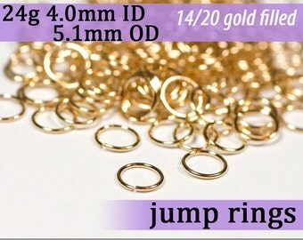 24g 4.0mm ID 5.1mm OD gold filled jump rings -- goldfill jumprings 14k goldfilled