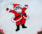 Vintage Embroidered Santa Claus Hanky - EyeSpyGoods
