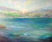 "Abstract Landscape Original Art ""Deep Blue Lake"""