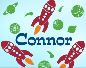 Boys Room Name Decal: Custom First Name with Three Rocket Ships and Outer Space Planets, Comets and a Moon, Boys Bedroom Decor (0177a0v)