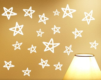 Vinyl Wall Stars Wall Decals, Star Wall Stickers, Kids Room Decor, Hand Drawn Style Stars, Starry Night Sky Wall Decorations (0173a27v-r3c)