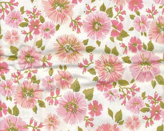 SALE Fabric Cotton Floral of Pink Asters quilting
