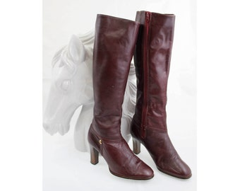 """Maroon Leather 80's Cobbies Boots Size 6 1/2"""""""