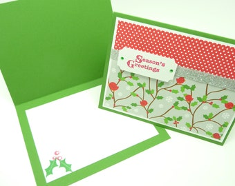 Christmas Card Set of 4, Christmas Holly, Holiday Card Set, Red and Green Cards, Little Red Birds, Handmade Greeting Cards