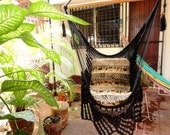 Black Sitting Hammock, Hanging Chair Natural Cotton and Wood plus Traingle Fringe