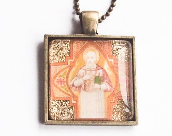 St. Francis de Sales glass pendant