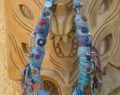 Unique, Original, Large NECKLACE /  Chest DECORATION, Textile / Fiber, zippers parts, decorative buttons & beads, fringes.