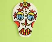 Sugar Skull Decoration Two-Sided Ceramic Ornament Hand Painted Day of the Dead