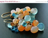 50% OFF SALE Wire Wrapped Earrings with Peach and Aqua Chalcedony Briolettes, Aquamarine, Gold