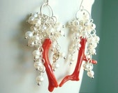 50% OFF SALE Coral Earrings with Mini Pearls - Wire Wrapped Italian Branch Coral and Freshwater Pearls  with Sterling Silver