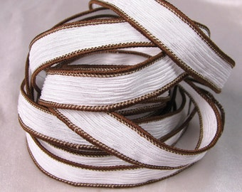 Hand Dyed Silk Art Ribbons - Jewelry bracelet wrist wrap - Quintessence - Coconut Crinkle