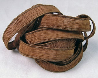 Hand Dyed Silk Ribbons - Crinkle Silk Jewelry Bracelet Fairy Ribbon - Quintessence - Chocolate Brown