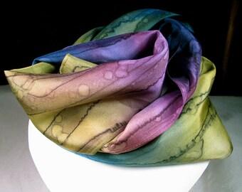 Scarf, Silk Scarf, Hand Painted Silk Scarf - Quintessence Silk - Purple Blue Scarf - Spellbound Magic