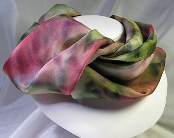 Scarf, Hand Painted Silk Scarf - Quintessence Silk - Rose Garden