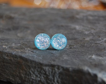 Dichroic Glass Jewelry, dichroic glass stud earrings, fused glass studs, handmade dichroic glass, glass jewelry, glass earrings