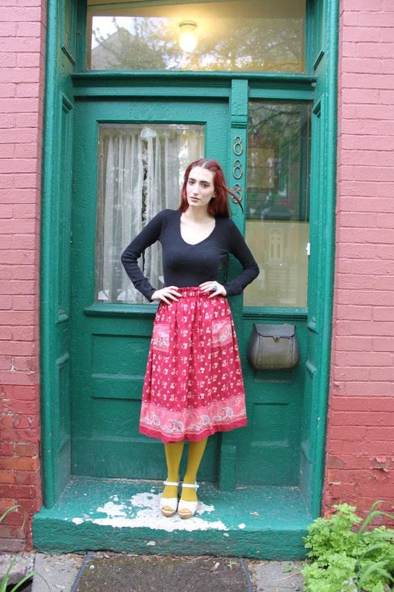 Skirt Full Vintage 1980s 80s Red Pink Floral Paper Bag High Waist S M L