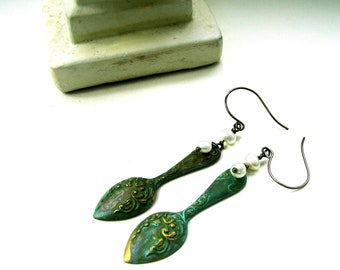 Verdigris Spoon Earrings - BAROQUE BEAUTIES - Ornate Hand Patinated Brass Stamping & Freshwater Pearl  - OOAK