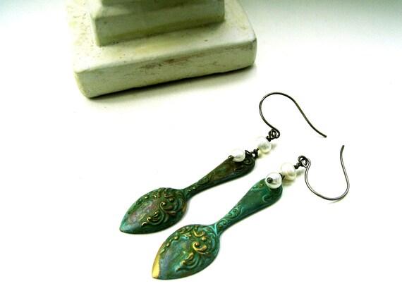 Verdigris Spoon Earrings - BAROQUE BEAUTIES - Ornate Hand Patinated Brass Stamping & Freshwater Pearl  - OOAK