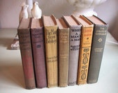 7 Vintage Books. Collection of Manly Titles. Fall Colors of Grey Green Ochre Mustard and Brown  Home Decor