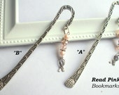 READ PINK - Pink pearl and crystal bookmarks - Free Ship To US - 12083