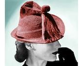 Vintage Crochet Pattern 1940s Fedora Hat Robinhood Cap Pinched Tassel Digital PDF