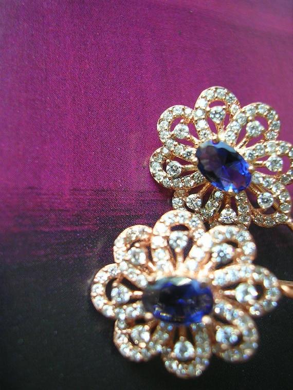 EDWINA EARRING antique diamond sapphire inspired zirconia gold