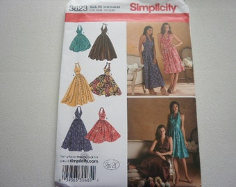 Pattern Ladies Halter Dresses Sizes 6 to 14  Simplicity 3823 A