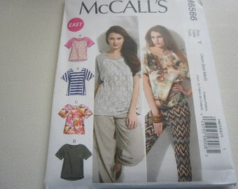 Pattern Ladies Tops 4 Styles Sizes 4 to 14 McCalls 6566 A-