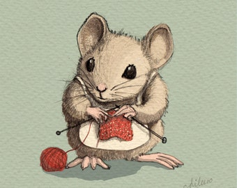 Ms. Knitty Nutty - signed Art Print