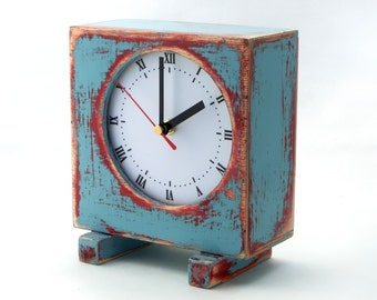 FREE SHIPPING - Wooden Clock Sky Blue / Pink, Wooden Clock, Table Clock, Blue clock, Unique gift, Mothers day gift