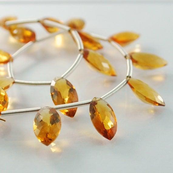Genuine Citrine Marquise Gemstone Beads AAA Briolettes Dark Burnt Orange Set of 6 12 x 6mm