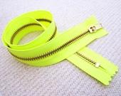 20inch - Neon Yellow Metal Zipper - Gold Teeth - 5pcs