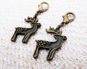 2pcs Reindeer Charm Zipper Pull