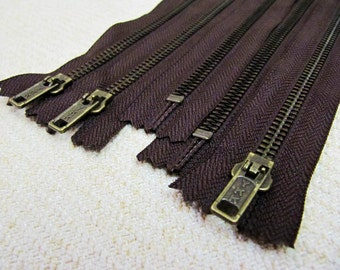 7inch - Dark Chocolate Brown Metal Zipper - Brass Teeth - 5pcs