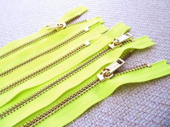 20inch - Neon Yellow Metal Zipper - Gold Teeth