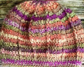 Radianting Stripes Crochet Slouch Beanie- Lily Field, Purple, Green, Yellow, Orange