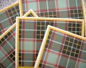 Plaid Notecards - Blank, Set of 6 - Red, Green, Yellow Plaid
