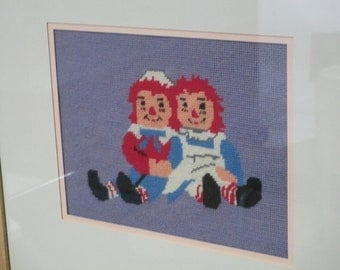 Raggedy Ann and Andy Needlepoint Framed Needlepoint Picture/ Mid Century Needlepoint Picture/  by Gatormom13