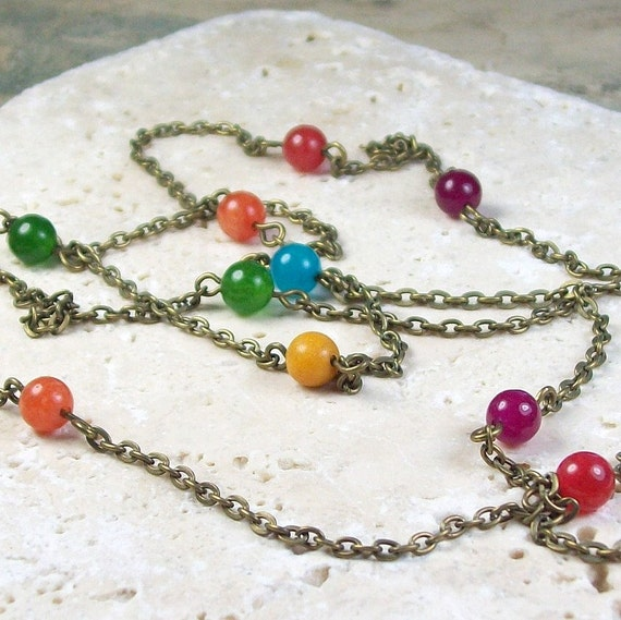 Joyful Bohemian Gypsy Stone Necklace - long - layering - rainbow stone - SALE