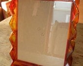 Groovy 1960s orange plastic see-thru smoked rippled 8 x 10 picture frame