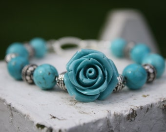 Beautiful Turquoise Flower Bracelet With Silver Accents